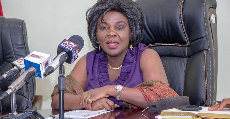 Mrs Cecilia Abena Dapaah addressing the meeting