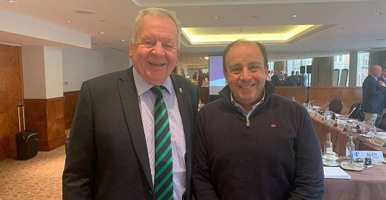 World Rugby President, Sir Bill Beaumont, with the President of Rugby Africa, Khaled Babbou.
