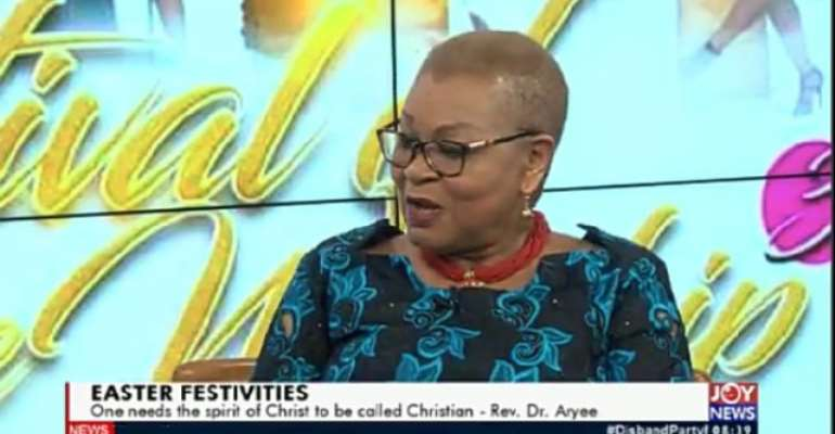 Rev. Dr. Joyce Aryee speaking on the AM show Easter Friday