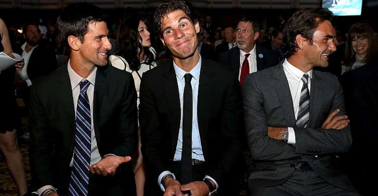 Novak Djokovic of Serbia, Rafael Nadal of Spain and Roger Federer of Switzerlan wait to go on stage during the ATP Heritage Celebration at The Waldorf=Astoria on August 23, 2013 in New York City.  Image credit: Getty Images