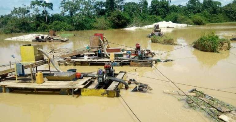 Galamsey equipment at Amansie West in the Ashanti Region