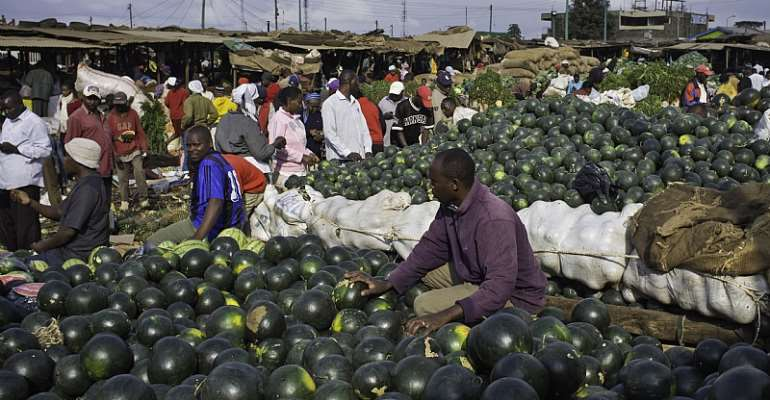 A water melon stall in the Makongeni market in Thika town -- a typical scene in Kenya. - Source: Photo by In Pictures Ltd./Corbis via Getty Images