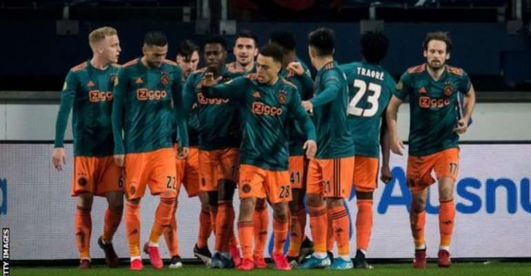Ajax are ahead of AZ Alkmaar on goal difference at the top of the Eredivisie