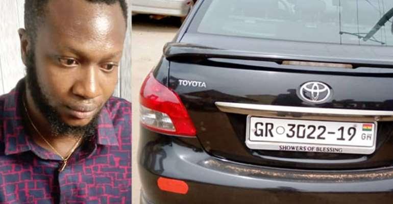 Samuel Klutse (left) and the car