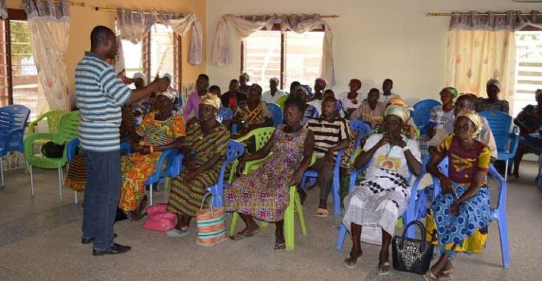 The   Programmes Manager of Basic Needs-Ghana, Mr Dokurugu Adam Yahaya, facilitating  the training session