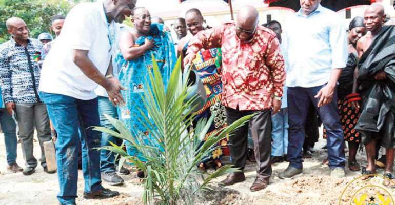 President Akufo-Addo planting a tree to launch the programme