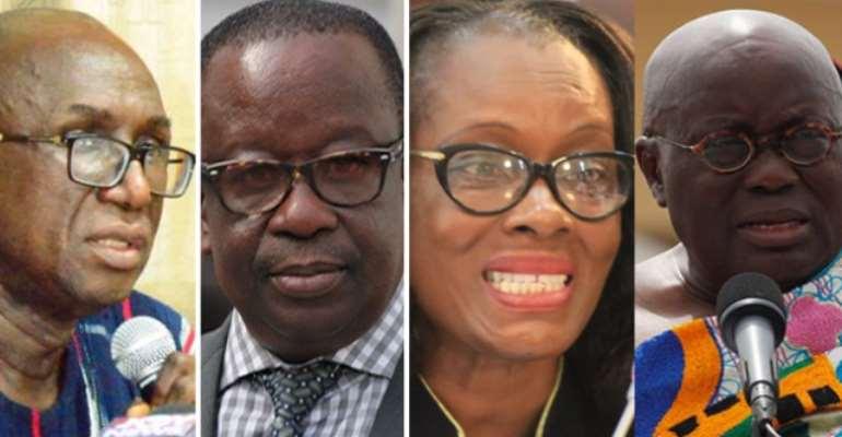 [L-R] Ambrose Dery, Kan Dapaah, Gloria Akuffo and President Akufo-Addo