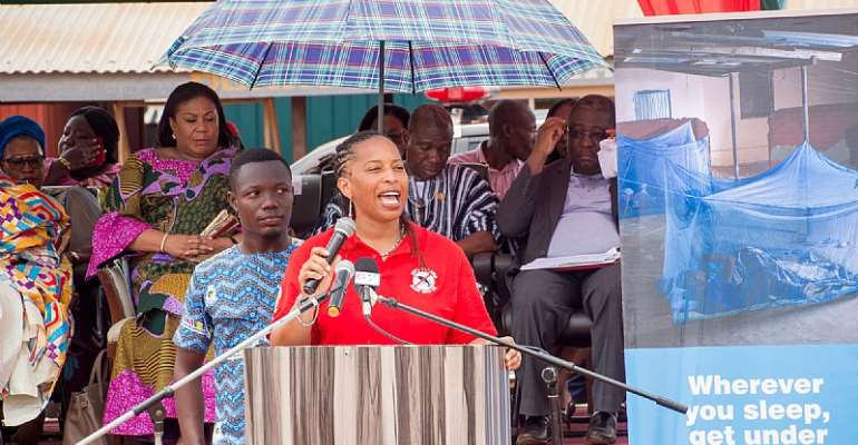 Ms. Janine Davies, USAID/Ghana Health, Population and Nutrition Office Director, giving a speech in Somanya during the celebration of the 2019 World Malaria Day