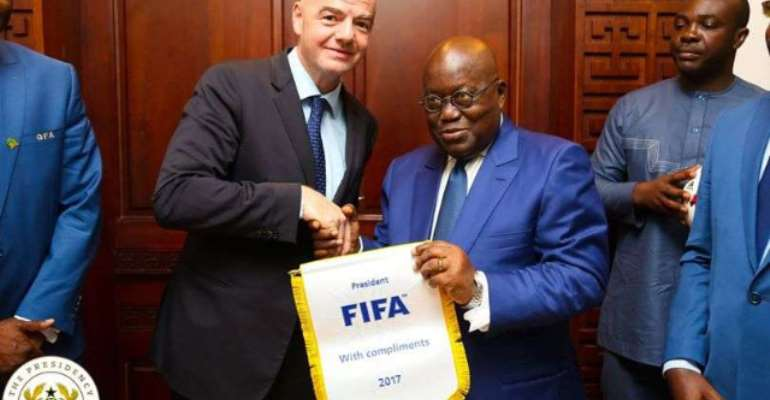 FIFA president Infantino and Ghana president Nana Akufo Addo