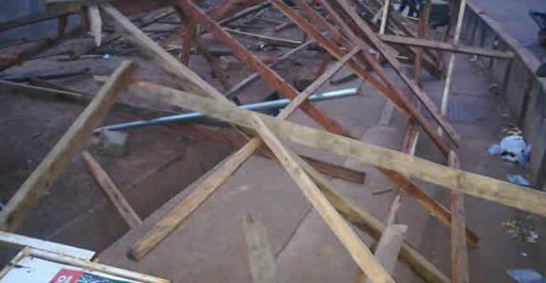 The demolished structure was a meeting place for NDC activists in Tamale.