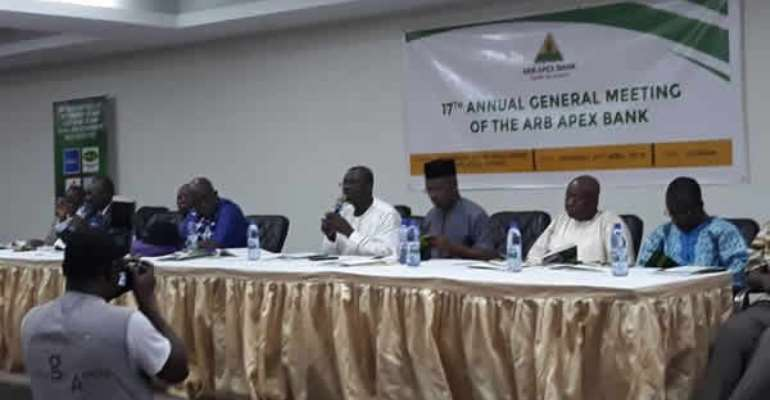 The Board Chairman Kwame Otieku addressed the 17th annual general meeting of the ARB APEX Bank