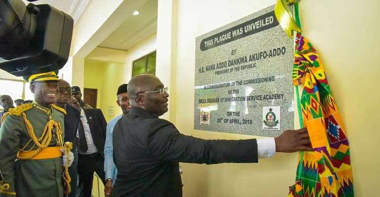 Bawumia commissioning Ghana Immigration Service Academy at Assin Foso in the Central Region