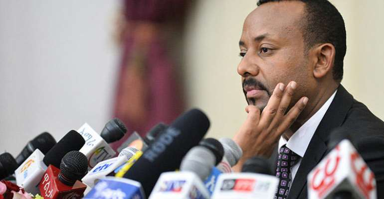 Prime Minister Abiy Ahmed speaks during a press conference in Addis Ababa, in August 2018. Since Abiy's election, conditions for Ethiopia's journalists have improved, but some challenges remain. (AFP/Michael Tewelde)