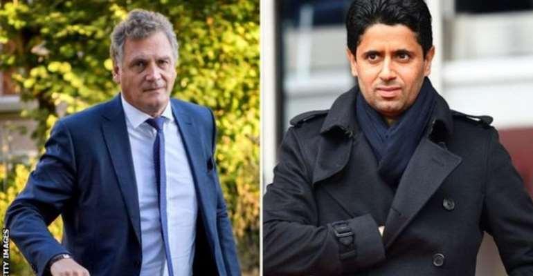 Nasser Al-Khelaifi (right of Jerome Valcke) has been president of PSG since 2011