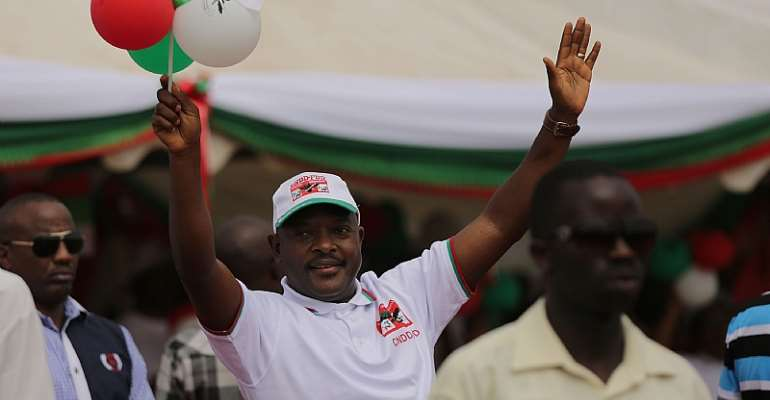 President Pierre Nkurunziza campaigning for the presidency in 2015.  - Source: Spencer Platt/GettyImages