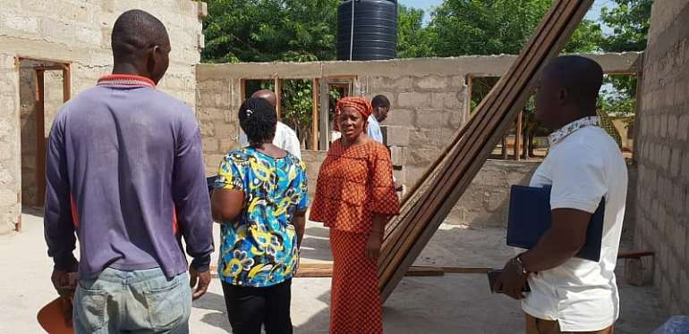 DCE With Others Inspecting The Progress Of Work At Seikwa Maternity Block
