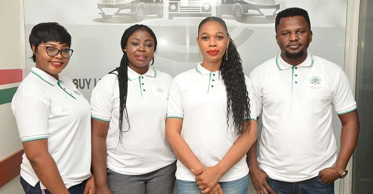 From left: Stella Nwokike, Client Service Officer; Paschaline Onyeka, Sales Account Officer; Adanna Atoba, General Manager, Sales & Operations and Samuel Oghogho, Social Media & Web Manager, all of Import Your Car Nigeria during the first year anniversary celebration of IYCN in Lagos.