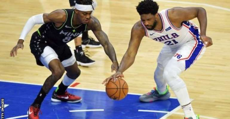 Joel Embiid (right) added eight rebounds, two assists and three blocks to his 24-point haul