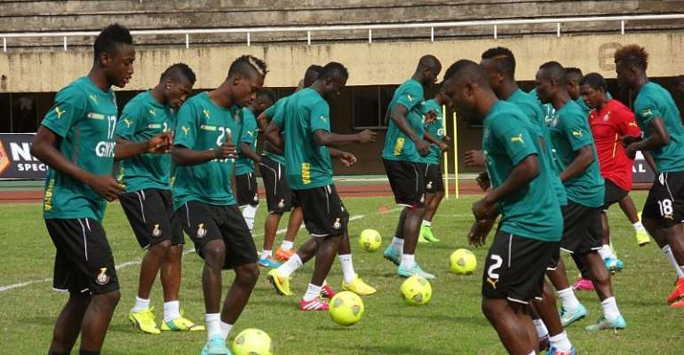 Black Stars players during a training session