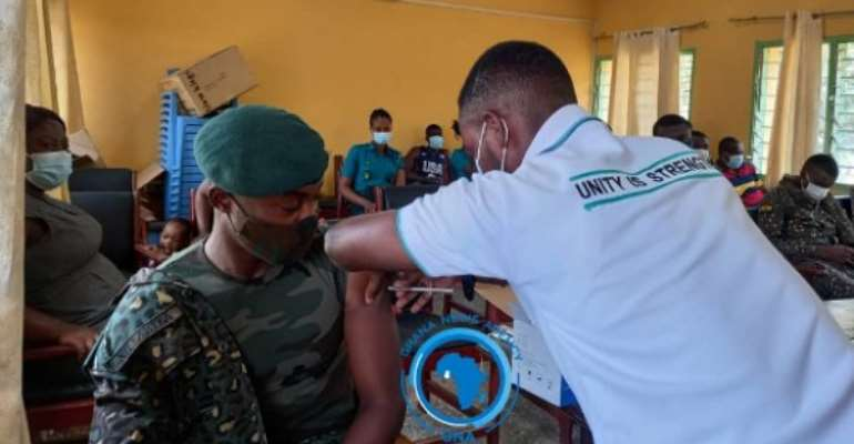 Immigration officers take COVID-19 vaccine in Hohoe