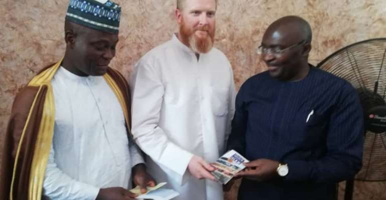 The Imam, John Fontaine and Dr Bawumia during the donation
