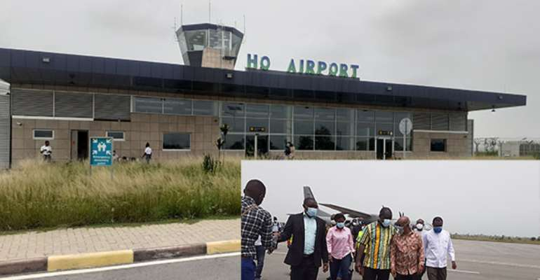 Ho Airpot. Inset: Transport Minister, Kwaku Ofori Asiamah and Volta Minister, Dr. Archibald Yao Letsa on the tarmac of the Ho Airport