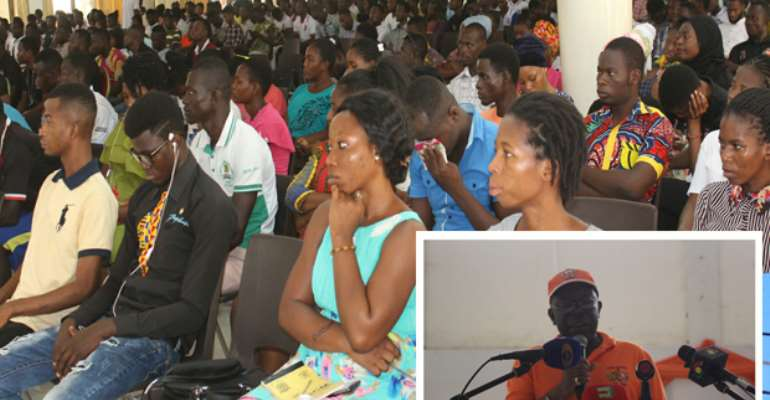 A section of students. INSET:SSNIT Dir. Gen. Dr. Ofori-Tenkorang addressing students