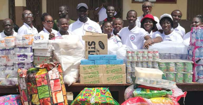 Some of the church members and the items donated