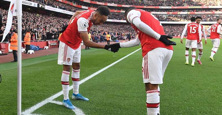 Pierre-Emerick Aubameyang celebrates scoring for Arsenal with (R) Alex Lacazette during the Premier League match between Arsenal FC and Chelsea FC  Image credit: Getty Images