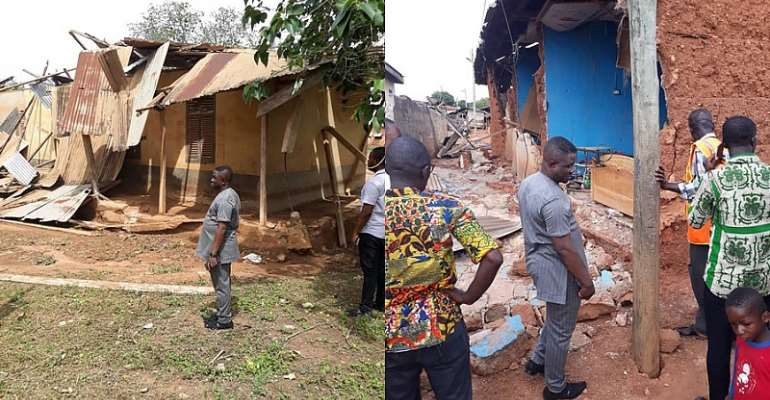 Inspecting the damages are the NADMO officials and MP for Tano South Constituency