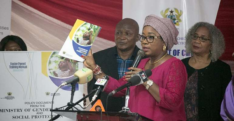 Minister for Gender, Children and Social Protection, Cynthia Morrison launches one of the six policy documents.