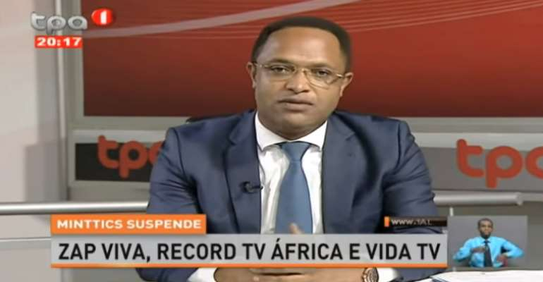 Nuno Albino, Angola's secretary of state for media, is seen in an interview on state broadcaster Televisão Pública de Angola, discussing the country's suspension of three TV channels for alleged registration issues. (Photo: TPA/YouTube)
