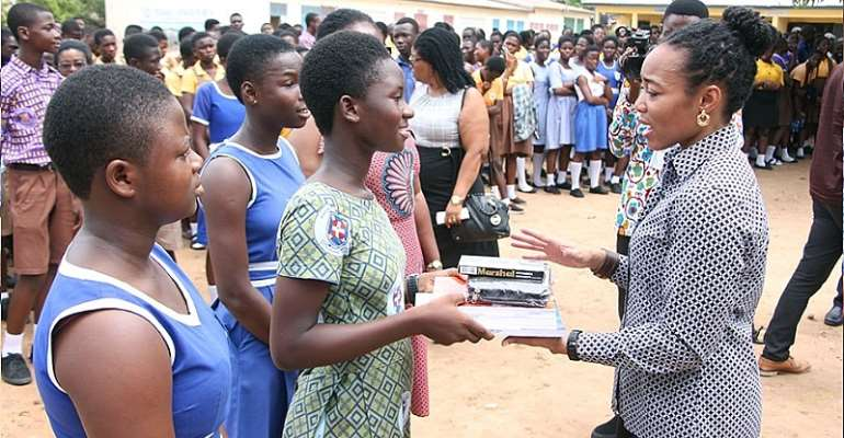 Dr. Zanetor Agyeman Rawlings MP presents educational materials to BECE candidates in Klottey Korle.
