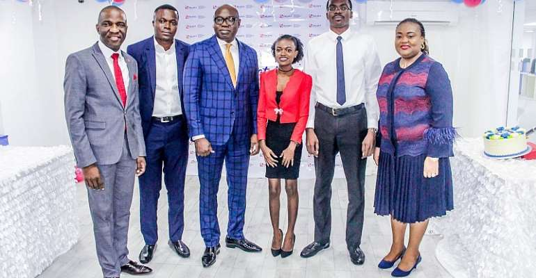Left-Right: Femi Muraino, Executive Director, Inlaks; Kelvin Osono-Mensah, Graduate Trainee, Inlaks; Femi Adeoti, MD/CEO Africa Operations, Inlaks; Yvonne Sefakor Kugblenu, Graduate Trainee, Inlaks; Stephen Sarpong-Sei, Graduate Trainee, Inlaks and Adetokunbo Ayo-Ogunsanya, Group Head Human Resources/Admin during the Inlaks Graduate Development Program (IGDP) Graduation in Lagos, Nigeria.