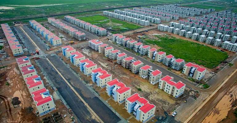 Aerial view of the housing project