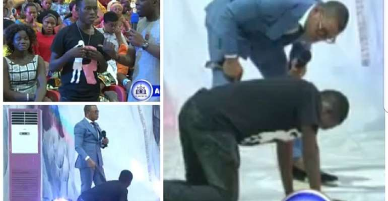 [Video] Obinim Whips Out 'Devil' In A Man AS Congregants Cheers Up