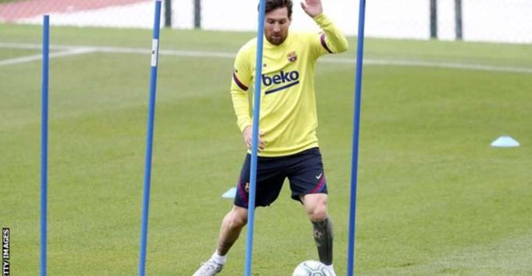 Lionel Messi has been training individually at Barcelona