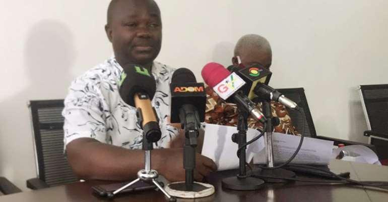 Nana Poku, Secretary of GUTA, addressing journalists