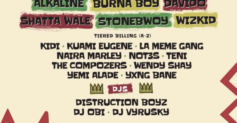Shatta Wale, Stonebwoy, Alkaline, Davido, Wizkid others for Afro Nation Ghana festival 2019