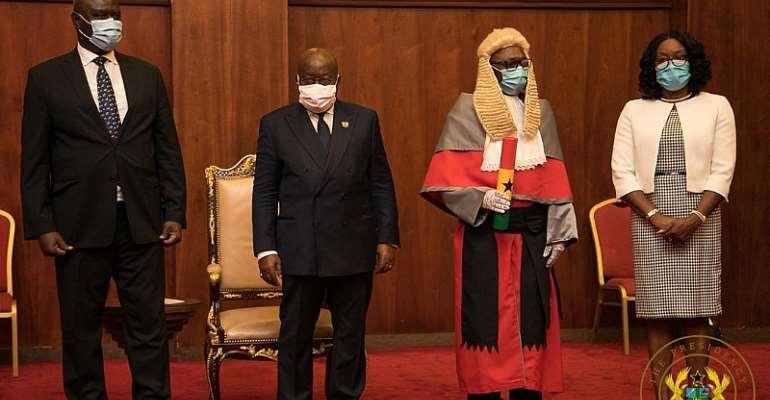 Akufo-Addo Swears In Honyenuga, Tanko Amadu To Supreme Court