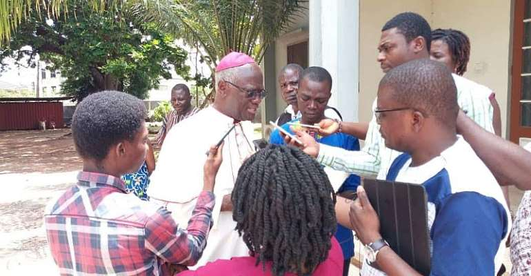 Archbishop John Kwofie granting interview with CAMP-G press