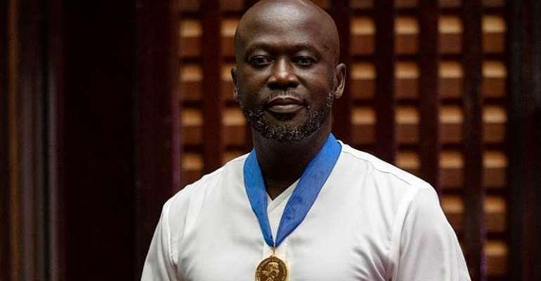 Image: Sir David Adjaye OBE receives the Royal Gold Medal from the UK High Commissioner in Accra, Ghana © Francis Kokoroko