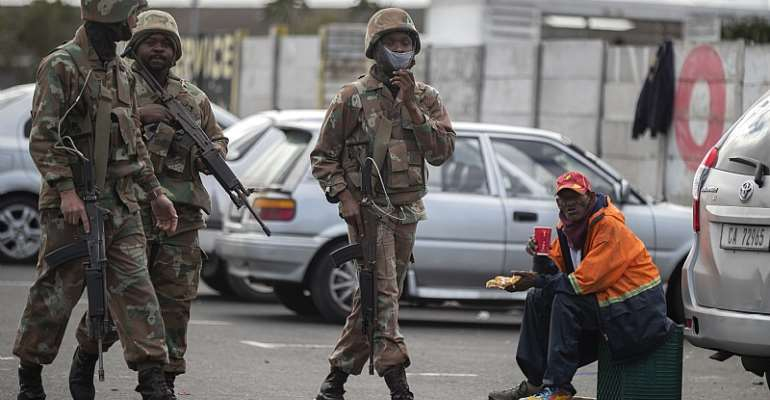 South African soldiers enforcing the COVID-19 lockdown in Mitchells Plain, Cape Town - Source: EPA/Nic Bothma