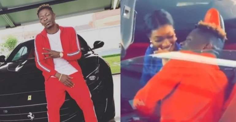 Shatta Wale flaunts his new Ferrari; goes on a ride with Wendy Shay