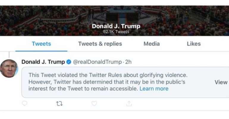 George Floyd: Twitter Hides Trump Tweet For 'Glorifying Violence'