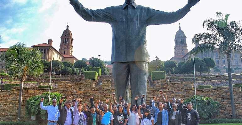 Statue of Nelson Mandela at Unions building Pretoria