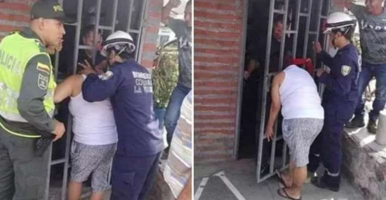 Woman Who Sticks Her Head Through Neighbor's Metal Grate Stuck For 5hours