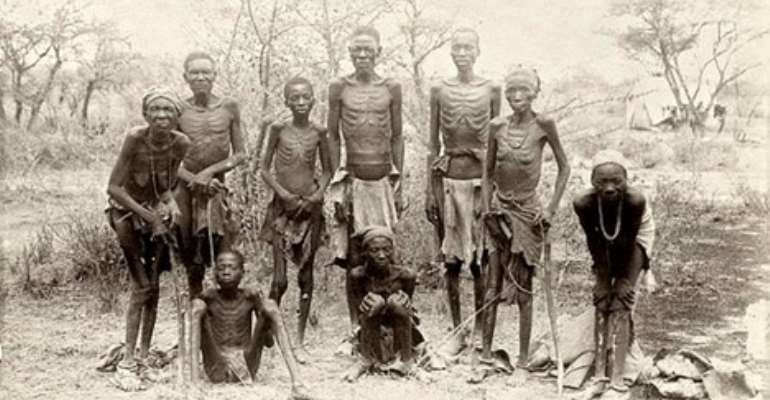 Surviving Herero returning from Omaheke Desert where they had been driven by German troops after the Battle at Waterberg; two women in front were unable to stand.