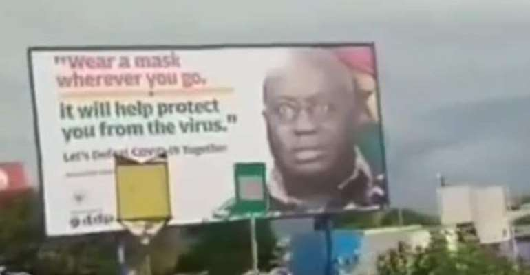 Billboard Of Akufo-Addo 'Preaching' Wear Face Mask But Without Face Mask To Go Down
