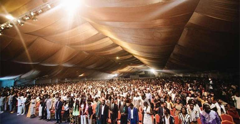 A scene at the Dome during the service